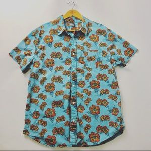 Turquoise Hibiscus Printed Button Down